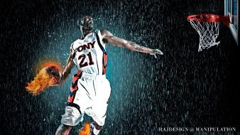 Men balls basketball action photomanipulation wallpaper