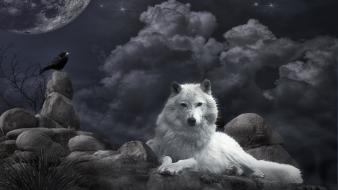 Moon crows ghost wolves Wallpaper