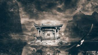 Mountains clouds birds fog lakes birth japanese architecture wallpaper