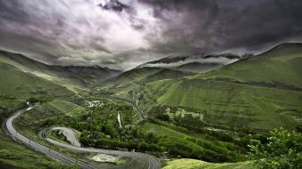 Mountains clouds landscapes nature gray hills asphalt wallpaper