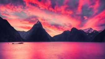 Mountains landscapes new zealand milford sound wallpaper