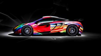 Multicolor cars lamborghini black background creative wallpaper