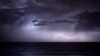 Ocean clouds nature dark rain storm sea wallpaper