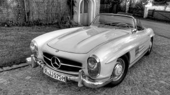 Old cars white and black mercedes benz wallpaper