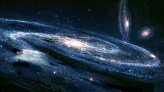 Outer space galaxies digital art wallpaper