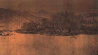 Paintings chinese classic ancient artwork sumi-e wallpaper
