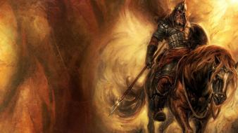 Paintings knights weapons fantasy art horses warriors Wallpaper