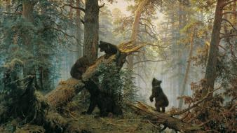 Paintings landscapes forest bears ivan shishkin wallpaper