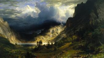 Paintings mountains landscapes storm artwork overcast rocky wallpaper