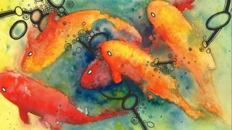 Paintings multicolor koi artwork watercolor fishes wallpaper