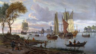 Paintings scenic artwork eglon van der neer wallpaper