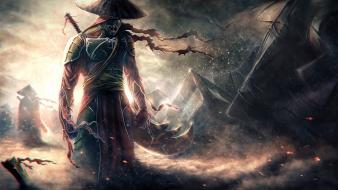 Rain fantasy art artwork swords wallpaper