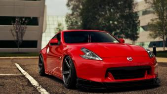 Red cars nissan parking lot fairlady z34 370z Wallpaper