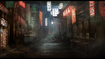 Roads artwork alley shady billboard neon crutches Wallpaper
