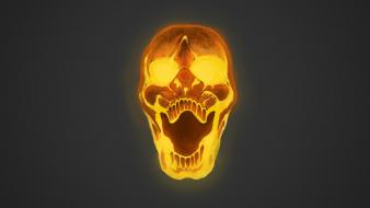 Skulls yellow digital art grey background wallpaper