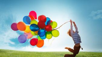 Sun jumping balloons children samsung galaxy s4 wallpaper
