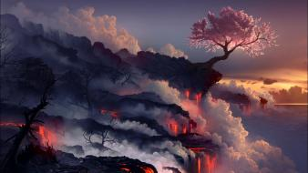 Sunset landscapes cherry blossoms scorched earth wallpaper