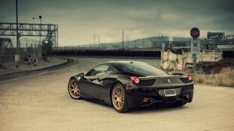 Supercars 458 italia linhberg black cars upscaled wallpaper