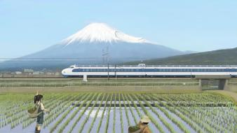 Trains propaganda rice artwork shinkansen skies farmers Wallpaper