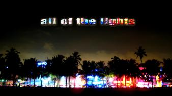 Trees cityscapes night lights multicolor silhouette miami street wallpaper