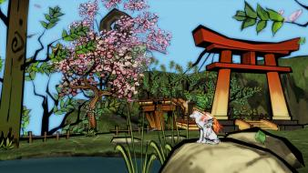 Video games artistic okami cell shaded wallpaper