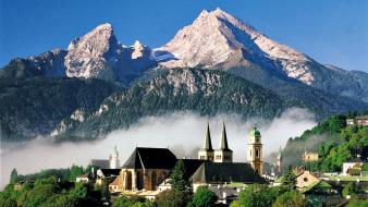 White forests germany houses fog church cities wallpaper