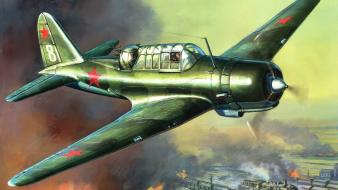 Aircraft military bomber soviet art wallpaper