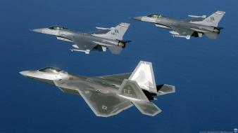Aircraft military raptor f-22 f-16 fighting falcon wallpaper