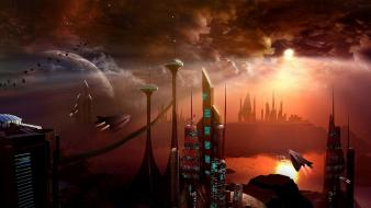 Buildings sunlight science fiction art vehicle sci-fi wallpaper