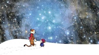 Cartoons outer space stars calvin and hobbes wallpaper