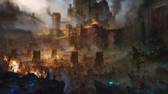 Castles fire demons fantasy art battles siege catapults wallpaper