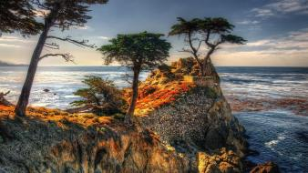 Clouds landscapes nature trees red rocks sea wallpaper