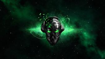 Destruction destroyed glowing alienware alien black background wallpaper