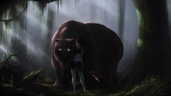Fantasy art artwork warriors bears glowing eyes wallpaper