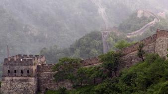 Fog mist the great wall of china wallpaper