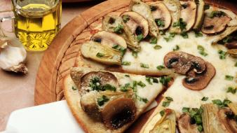 Food pizza mushrooms artichokes wallpaper