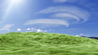 Green grass fields meadows skies pasture bliss wallpaper