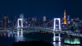 Japan tokyo cityscapes city lights towers rainbow bridge wallpaper