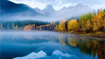 Landscapes mist lakes wallpaper