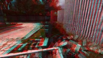 Landscapes nature red wall anaglyph 3d graphics wallpaper