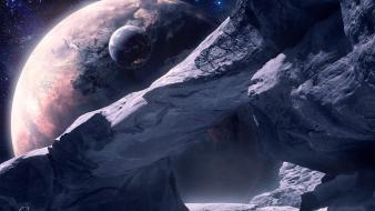 Mountains outer space planets wallpaper