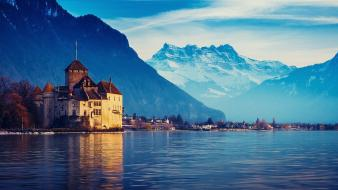 Mountains winter snow castles switzerland lake geneva Wallpaper