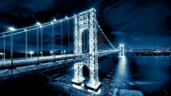 Night lights bridges new york city george washington wallpaper