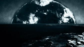 Outer space dark stars photo manipulation sea Wallpaper