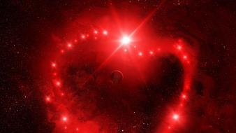 Outer space red stars artwork hearts art wallpaper