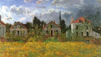 Paintings flowers houses claude monet impressionism wallpaper