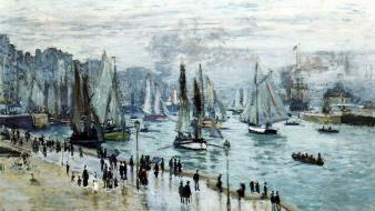 Paintings people boats claude monet harbours impressionism wallpaper