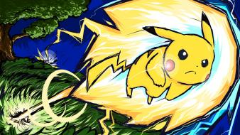 Pokemon pikachu storm lightning blue red Wallpaper
