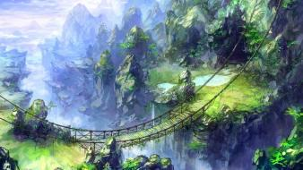 Rocks bridges fantasy art artwork rope bridge Wallpaper