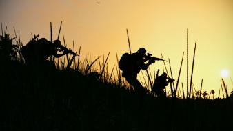 Soldiers military silhouettes wallpaper